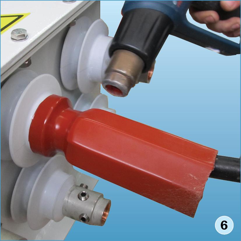 Выполнить термоусадку трубки «термофит» при помощи термопистолета или газовой горелки, начиная от юбки проходного изолятора
